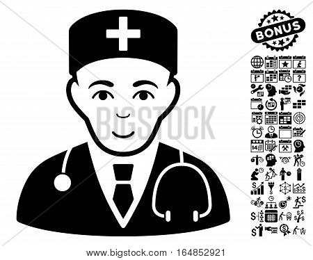 Physician icon with bonus business time management and calendar clip art. Vector illustration style is flat iconic symbols black color white background.