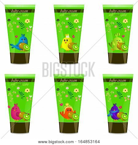 High quality original trendy vector Baby cream tube with kids design and bird, kiwi illustration