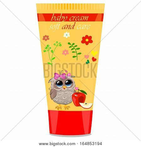 High quality original trendy vector apple Baby cream tube with kids design and owl on floral background illustration