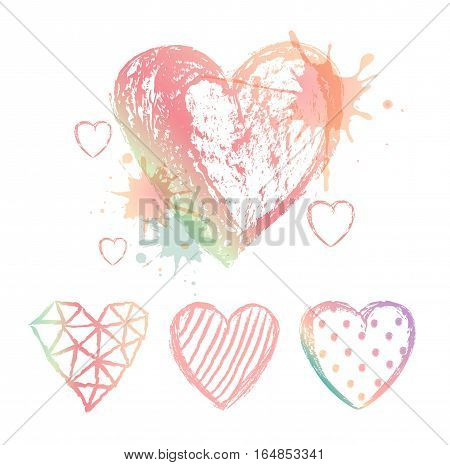 Vector set hand drawn hearts. Colour aquarelle blots.