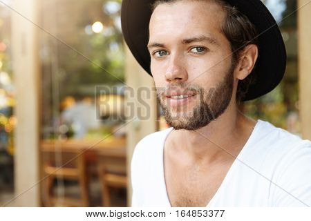 Highly-detailed Shot Of Attractive And Fashionable Young Bearded Blue-eyed Male Model With Fair Hair