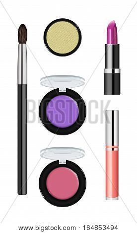 Realistic makeup cosmetics isolated on white background vector illustration. Brush, lipstick, facepowder, pomade, eye shadow, foundation. Decorative facial cosmetics products, beauty fashion makeup. Cosmetics concept design. Cosmetics product concept desi