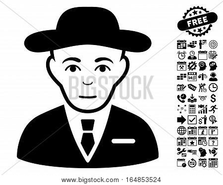 Secret Service Agent pictograph with bonus business time management and calendar icon set. Vector illustration style is flat iconic symbols black color white background.