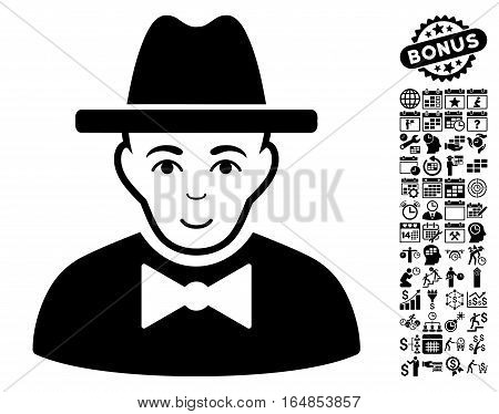 Spy pictograph with bonus business time management and calendar pictograph collection. Vector illustration style is flat iconic symbols black color white background.