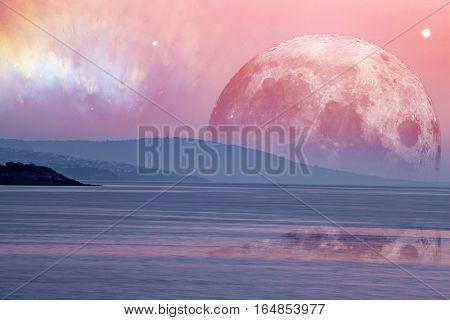 Landscape Of An Alien Planet - Huge Pink Moon Reflects In Calm Ocean Water.