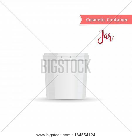 Cosmetic container. Realistic white jar with cap for cosmetic product vector illustration
