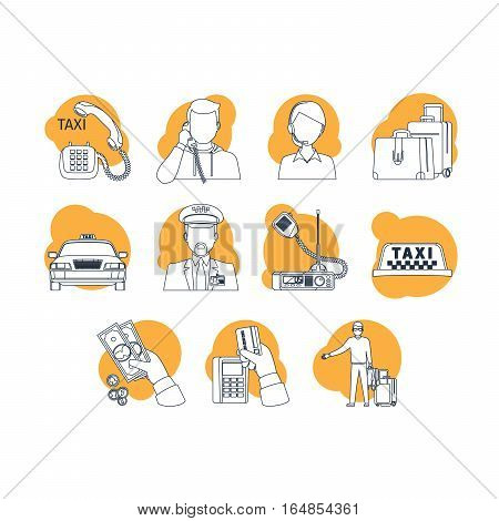 Taxi cartoon icons. Line art and orange fill vector illustration