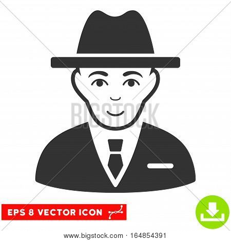 Vector Agent EPS vector pictogram. Illustration style is flat iconic gray symbol on a transparent background.