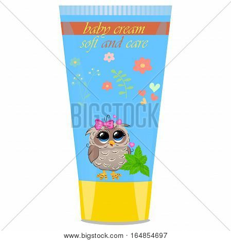 High quality original trendy vector mint Baby cream tube with kids design and owl on floral background illustration