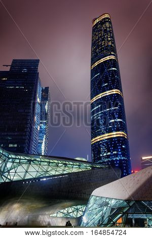 Night View Of The Guangzhou International Finance Centre