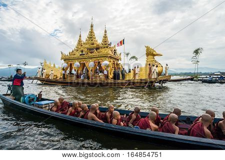 INLE-LAKE, MYANMAR - OCT 06 2014: The festival of Phaung Daw Oo Pagoda at Inle Lake in October 2014.
