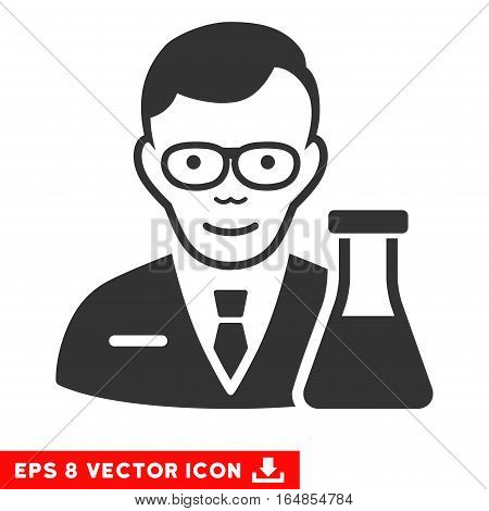 Vector Chemist EPS vector pictogram. Illustration style is flat iconic gray symbol on a transparent background.