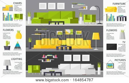 Room interior brochure with furniture elements apartment in different colors and architecture vector illustration