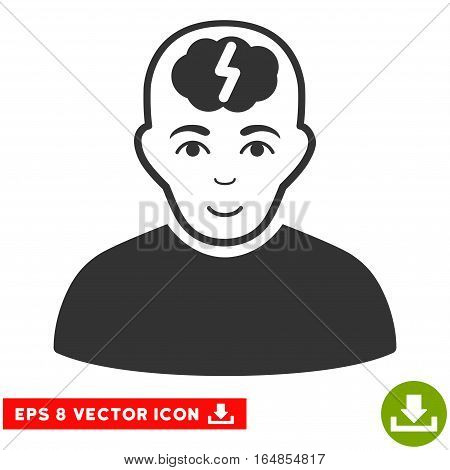 Vector Clever Boy EPS vector pictograph. Illustration style is flat iconic gray symbol on a transparent background.
