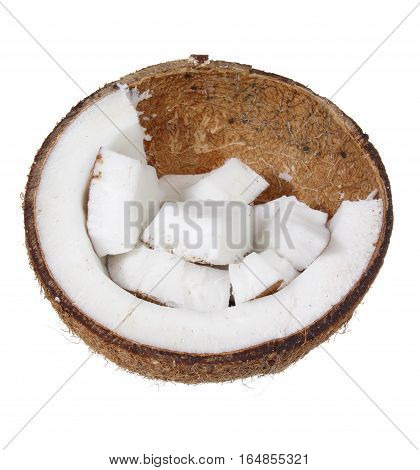 Half a Coconut on a White Background