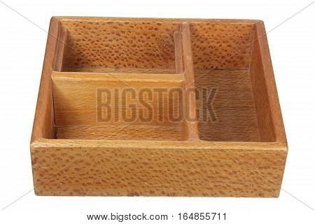 Wooden Box with Compartments on White Background
