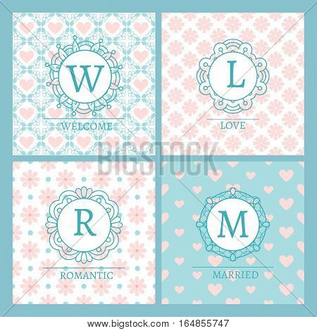 Cute and chic pink cards with patterns and words for wedding design. Vector illustration