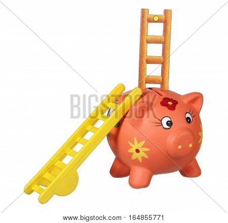 Piggy Bank with Ladders on White Background