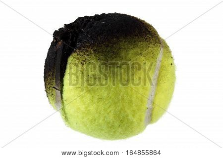 Burnt Tennis Ball on a White Background