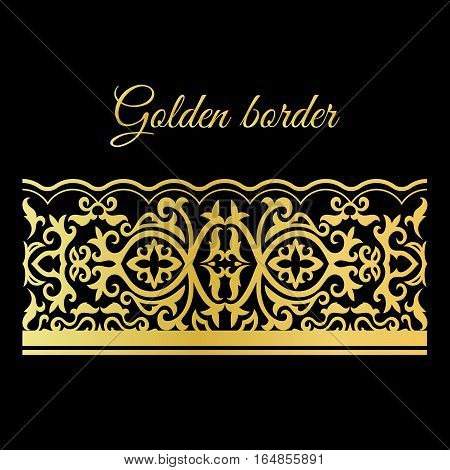 Traditional golden lacy seamless vector border on black background