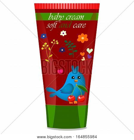 High quality original trendy vector Baby cream tube with kids design and bird, cherry illustration