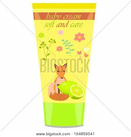 High quality original trendy vector lime Baby cream tube with kids design and fox on floral background illustration