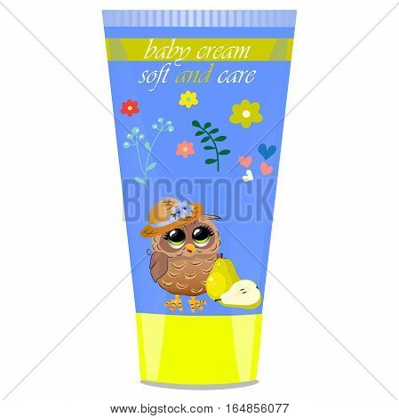 High quality original trendy vector pear Baby cream tube with kids design and owl on floral background illustration