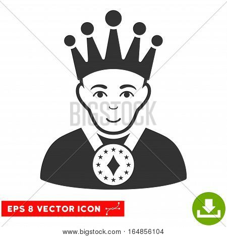 Vector King EPS vector icon. Illustration style is flat iconic gray symbol on a transparent background.