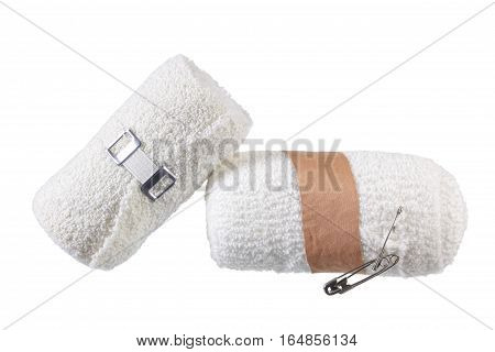 Rolls of Bandages on a White Background