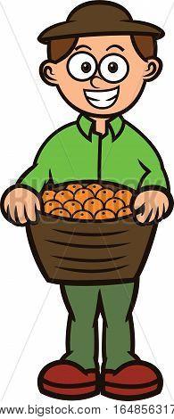 Fruit Seller Carrying Full Basket of Fruit Cartoon Illustration
