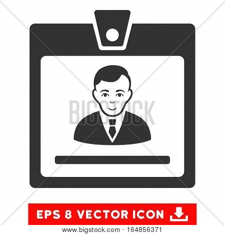 Vector Manager Badge EPS vector icon. Illustration style is flat iconic gray symbol on a transparent background.
