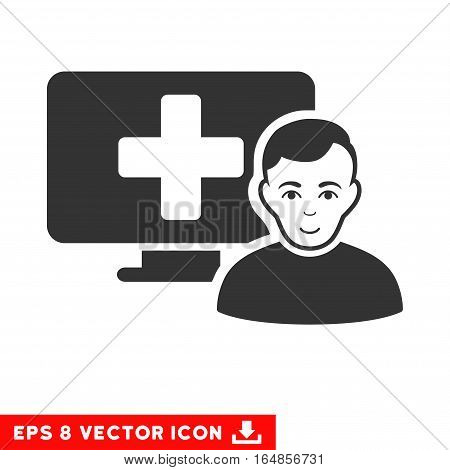 Vector Online Medicine EPS vector pictogram. Illustration style is flat iconic gray symbol on a transparent background.