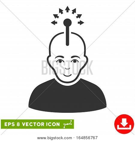 Vector Optical Neural Interface EPS vector pictogram. Illustration style is flat iconic gray symbol on a transparent background.