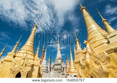 The group of ancient pagoda named Shwe Indein located in Inle lake of Myanmar.