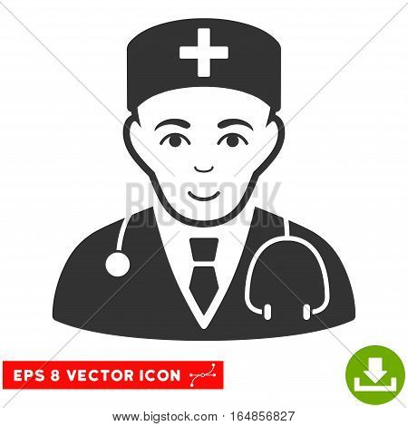 Vector Physician EPS vector icon. Illustration style is flat iconic gray symbol on a transparent background.