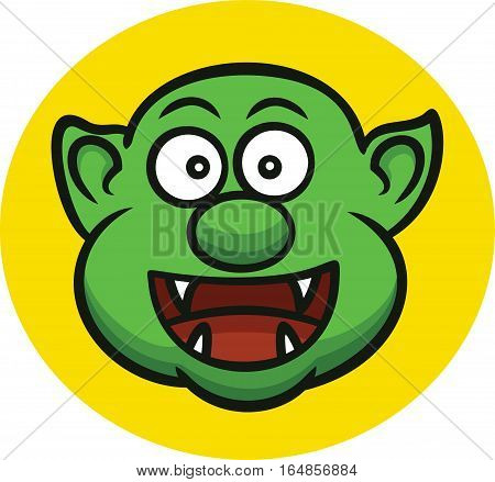 Funny Ogre Head Cartoon Character. Vector Illustration.