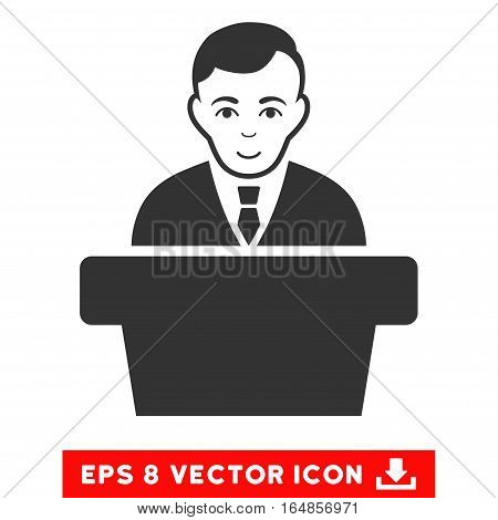 Vector Politician EPS vector icon. Illustration style is flat iconic gray symbol on a transparent background.