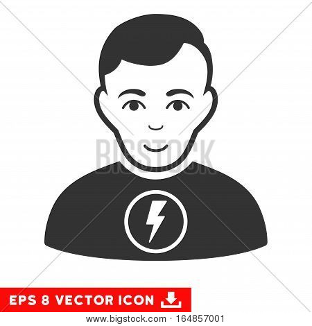 Vector Power Man EPS vector pictogram. Illustration style is flat iconic gray symbol on a transparent background.