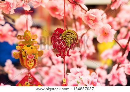 Chinese year of the rooster. Chinese rooster year decorations. Chinese year of the rooster decorations.
