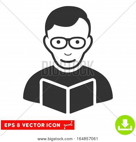 Vector Reader EPS vector pictograph. Illustration style is flat iconic gray symbol on a transparent background.