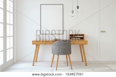Interior of home office in scandinavian style. Mock-up interior with poster. 3d render.