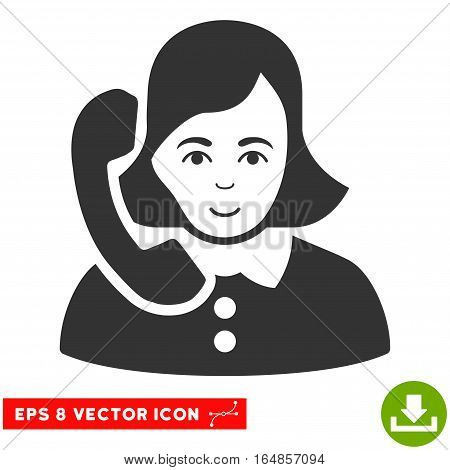 Vector Receptionist EPS vector pictograph. Illustration style is flat iconic gray symbol on a transparent background.
