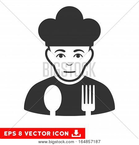 Vector Sad Cook EPS vector pictograph. Illustration style is flat iconic gray symbol on a transparent background.