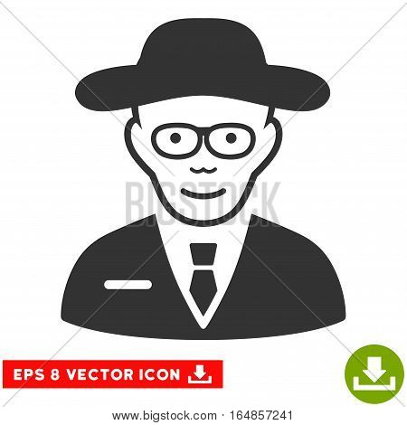 Vector Scientist EPS vector pictograph. Illustration style is flat iconic gray symbol on a transparent background.