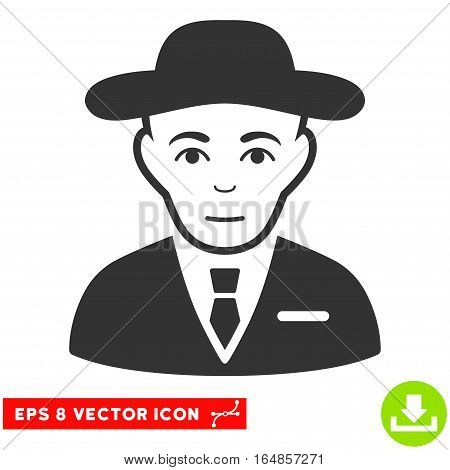 Vector Secret Service Agent EPS vector pictogram. Illustration style is flat iconic gray symbol on a transparent background.