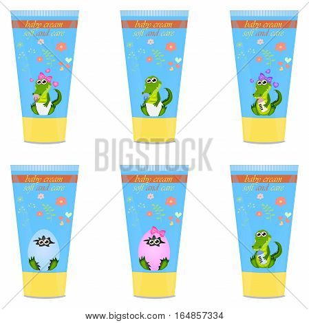 High quality original trendy vector Baby cream tube with kids design and crocodile or alligator on floral background illustration