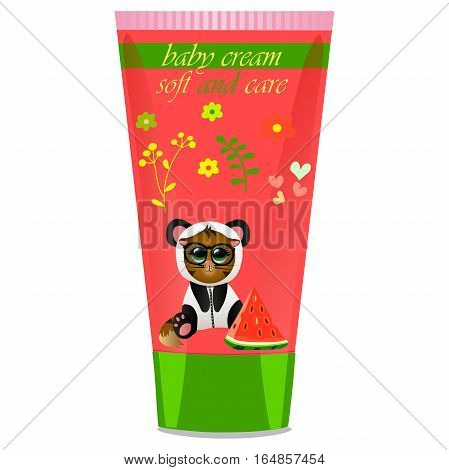 High quality original trendy vector Baby cream tube with kids design and cat in panda suit, watermelon illustration