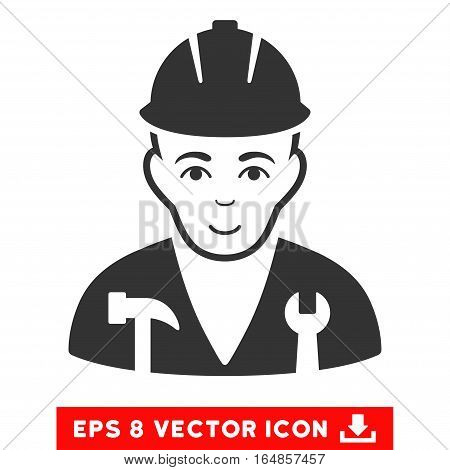 Vector Serviceman EPS vector pictogram. Illustration style is flat iconic gray symbol on a transparent background.
