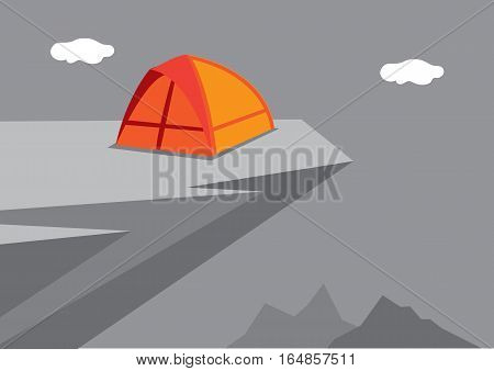 Vector illustration of a camping dome tent at near the edge of a high overhanging rocky cliff.