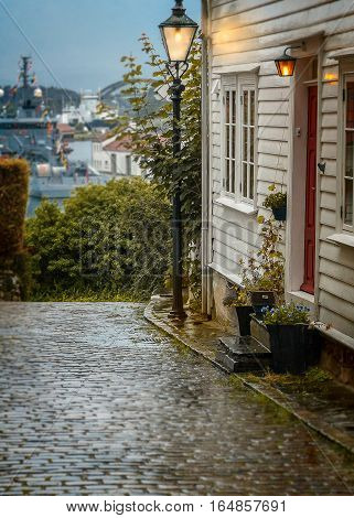 Norway Stavanger. Former residential building of the city is maintained unchanged for centuries. Early morning.
